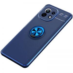 Cиликоновый чехол Deen ColorRing c креплением под магнитный держатель для Xiaomi Mi 11 – Синий