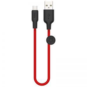Кабель Hoco X21 plus Silicone USB to MicroUSB 2.4A (0.25м) – Black / Red