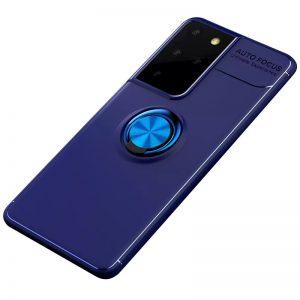 Cиликоновый чехол Deen ColorRing c креплением под магнитный держатель для Samsung Galaxy S21 Ultra – Синий