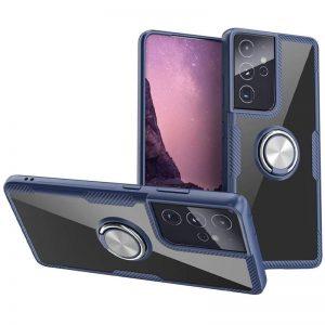 Чехол TPU+PC Deen CrystalRing с креплением под магнитный держатель для Samsung Galaxy S21 Ultra – Темно-синий