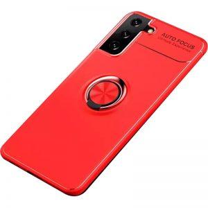 Cиликоновый чехол Deen ColorRing c креплением под магнитный держатель для Samsung Galaxy S21 Plus – Красный