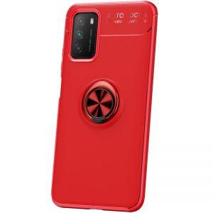 Cиликоновый чехол Deen ColorRing c креплением под магнитный держатель для Xiaomi Poco M3 – Красный