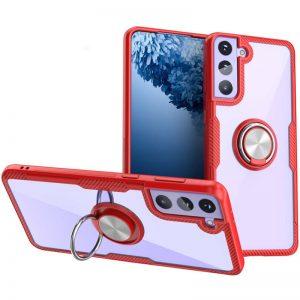 Чехол TPU+PC Deen CrystalRing с креплением под магнитный держатель для Samsung Galaxy S21 Plus — Красный