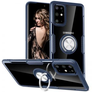 Чехол TPU+PC Deen CrystalRing с креплением под магнитный держатель для Samsung Galaxy S20 Plus — Темно-синий