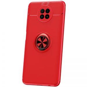 Cиликоновый чехол Deen ColorRing c креплением под магнитный держатель для Xiaomi Redmi Note 9T  – Красный