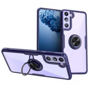 Чехол TPU+PC Deen CrystalRing с креплением под магнитный держатель для Samsung Galaxy S21 Plus —  Синий
