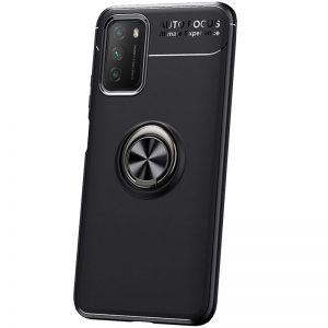 Cиликоновый чехол Deen ColorRing c креплением под магнитный держатель для Xiaomi Poco M3 – Черный
