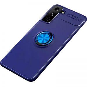 Cиликоновый чехол Deen ColorRing c креплением под магнитный держатель для Samsung Galaxy S21 Plus – Синий