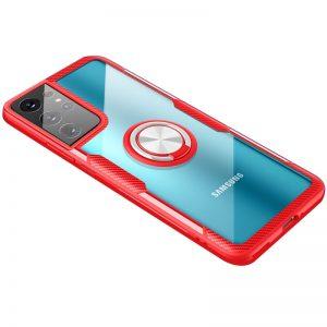 Чехол TPU+PC Deen CrystalRing с креплением под магнитный держатель для Samsung Galaxy S21 Ultra – Красный