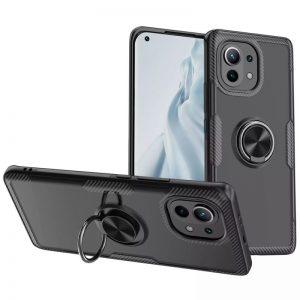 Cиликоновый чехол Deen CrystalRing c креплением под магнитный держатель для Xiaomi Mi 11 – Черный