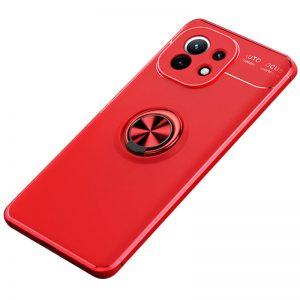 Cиликоновый чехол Deen ColorRing c креплением под магнитный держатель для Xiaomi Mi 11 – Красный