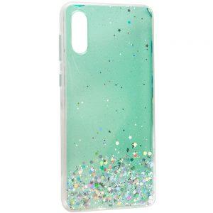 Cиликоновый чехол с блестками Shine Glitter для Samsung Galaxy A02 – Прозрачный / Мятный