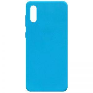 Матовый силиконовый TPU чехол для Samsung Galaxy A02 – Голубой