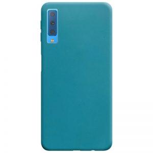 Матовый силиконовый TPU чехол на Samsung Galaxy A7 2018 A750 – Синий / Powder Blue
