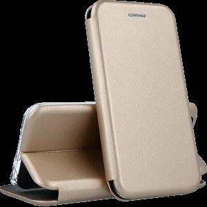 Кожаный чехол-книжка 360 с визитницей для Samsung Galaxy J3 2017 (J330) – Золотой