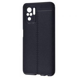 TPU чехол фактурный (с имитацией кожи) для Xiaomi Redmi Note 10 / Note 10s – Черный