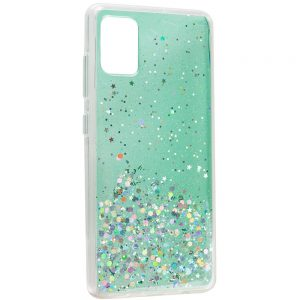 Cиликоновый чехол с блестками Shine Glitter для Samsung Galaxy A31 – Прозрачный / Мятный