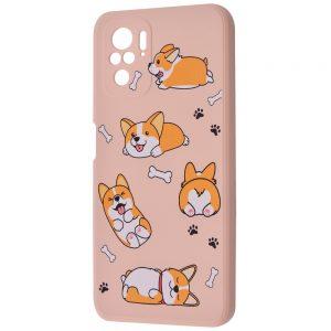 TPU чехол WAVE Fancy Case для Xiaomi Redmi Note 10 / Note 10s – Funny corgi / Pink sand