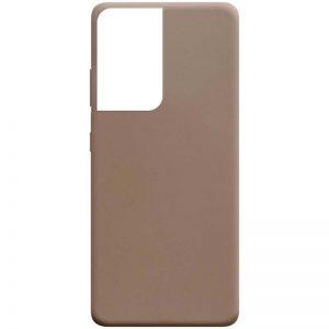 Матовый силиконовый TPU чехол для Samsung Galaxy S21 Ultra – Коричневый