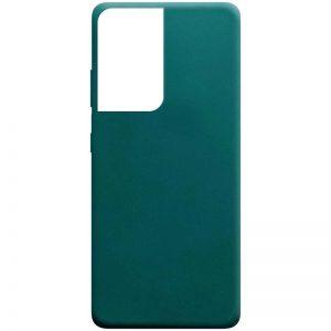 Матовый силиконовый TPU чехол для Samsung Galaxy S21 Ultra – Зеленый / Forest green