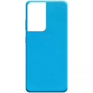 Матовый силиконовый TPU чехол для Samsung Galaxy S21 Ultra – Голубой