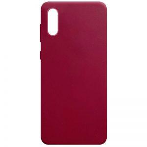 Матовый силиконовый TPU чехол для Samsung Galaxy A02 – Бордовый