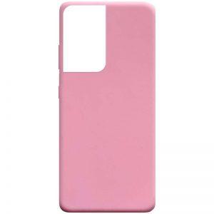Матовый силиконовый TPU чехол для Samsung Galaxy S21 Ultra – Розовый