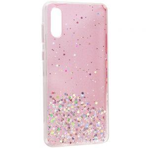 Cиликоновый чехол с блестками Shine Glitter для Samsung Galaxy A02 – Прозрачный / Розовый