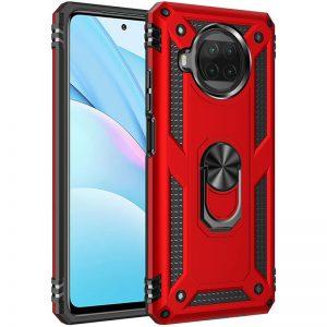 Ударопрочный чехол Serge Ring под магнитный держатель с кольцом для Xiaomi Mi 10T Lite – Красный