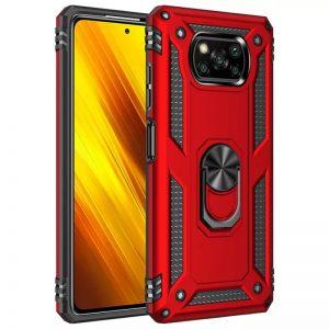 Ударопрочный чехол Serge Ring под магнитный держатель с кольцом для Xiaomi Poco X3 NFC / Poco X3 Pro – Красный