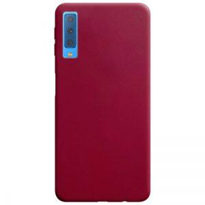 Матовый силиконовый TPU чехол на Samsung Galaxy A7 2018 A750 – Бордовый