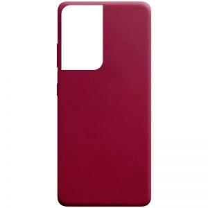Матовый силиконовый TPU чехол для Samsung Galaxy S21 Ultra – Бордовый