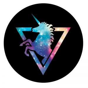 Держатель для телефона PopSockets Glass – Космический Единорог / Черный