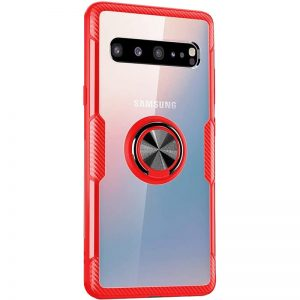 Чехол TPU+PC Deen CrystalRing с креплением под магнитный держатель для Samsung Galaxy S10 Plus (G975) – Красный