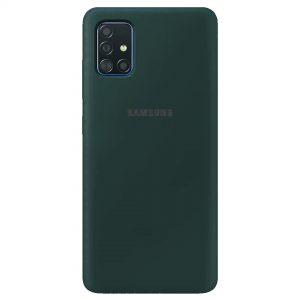Оригинальный чехол Silicone Cover 360 с микрофиброй для Samsung Galaxy A71 – Зеленый / Pine green