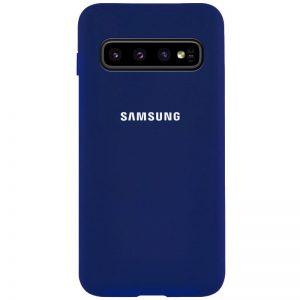Оригинальный чехол Silicone Cover 360 с микрофиброй для Samsung Galaxy S10 (G973) – Темно-синий / Midnight blue