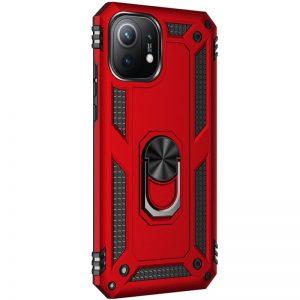 Ударопрочный чехол Serge Ring под магнитный держатель с кольцом для Xiaomi Mi 11 – Красный