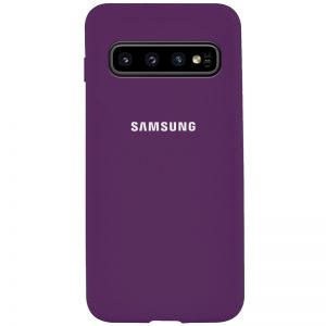 Оригинальный чехол Silicone Cover 360 с микрофиброй для Samsung Galaxy S10 (G973) – Фиолетовый / Grape