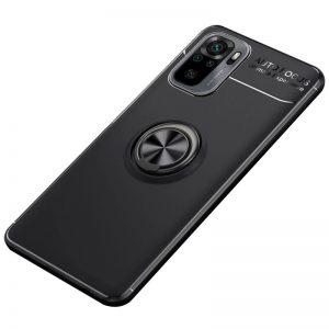 Cиликоновый чехол Deen ColorRing с креплением под магнитный держатель для Xiaomi Redmi Note 10 / Note 10s – Черный