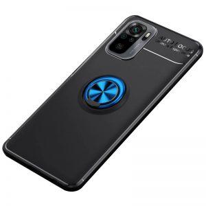 Cиликоновый чехол Deen ColorRing с креплением под магнитный держатель для Xiaomi Redmi Note 10 / Note 10s – Черный / Синий