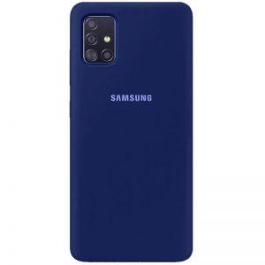 Оригинальный чехол Silicone Cover 360 с микрофиброй для Samsung Galaxy A71 – Темно-синий / Midnight blue