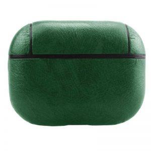 Чехол для наушников Leather series + карабин для Apple Airpods Pro – Зеленый