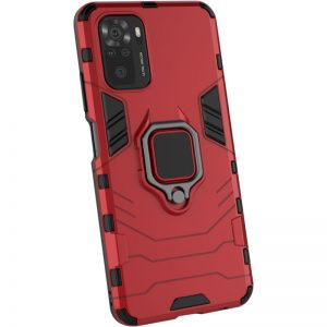Ударопрочный чехол Transformer Ring под магнитный держатель для Xiaomi Redmi Note 10 / Note 10s – Красный / Dante Red