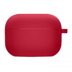Силиконовый чехол для наушников с микрофиброй для Apple Airpods Pro – Красный / Rose Red