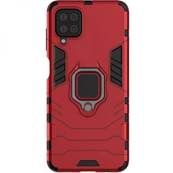 Ударопрочный чехол Transformer Ring под магнитный держатель для Samsung Galaxy A12 / M12 – Красный / Dante Red