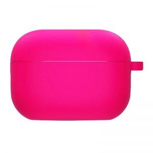 Силиконовый чехол для наушников с микрофиброй для Apple Airpods Pro – Розовый / Barbie pink