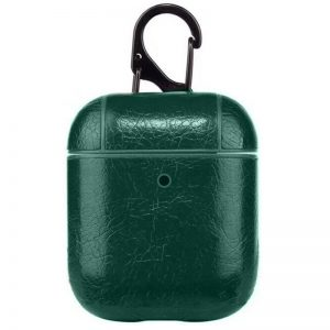 Чехол для наушников Leather series + карабин для Apple Airpods – Зеленый