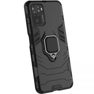 Ударопрочный чехол Transformer Ring под магнитный держатель для Xiaomi Redmi Note 10 / Note 10s – Черный / Soul Black