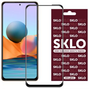 Защитное стекло 3D / 5D Premium SKLO Full Glue на весь экран для Xiaomi Redmi Note 10 / 10s – Black