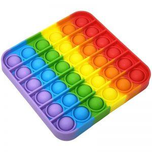 Антистресс игрушка Pop It Bubble Dimbl (Поп-ит) – Квадрат разноцветный